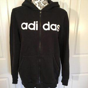ADIDAS full-zip hoodie white logo on black youthXL